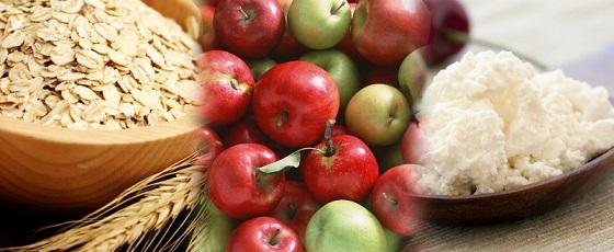 яблоки, творог и овсянка